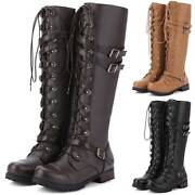 Women's Knee High Lace Up Buckle Military Combat Boots Pu Leather Casual Shoes