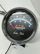 Vintage 1960and039s Sun 8k Blue Line Tachometer St-602 With Chrome Cup Hot Rod Gasser