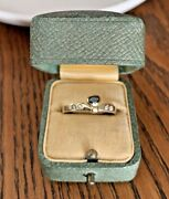 Bow Tie Vintage To Antique Blue Bezel Set Sapphire 8k Solid Gold Ring Band Stack