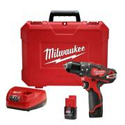 Milwaukee Hammer Drill/driver Kit Cordless M12 12-volt Lithium-ion 3/8 Inch New