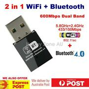 Usb Bluetooth V4.0+dual Band 600mbps Wireless Ac Wifi Adapter 2in1 Dongle