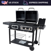 Stainless Steel Outdoor Bbq Cooker Grill Propane Gas Charcoal Side Burner Usa