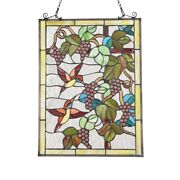 25 X 18 Hummingbird And Grapes Stained Glass Style Window Panel