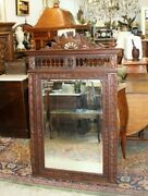French Antique Carved Oak Brittany Beveled Mirror