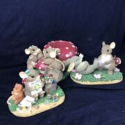 Lot Of 3 Charming Tails Figurines By Fitz And Floyd Mice With Aminita Mushrooms