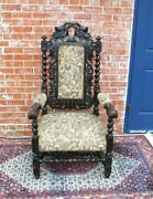 French Antique Upholstered Carved Oak Louis Xiii Armchair / Throne Chair C.1880s