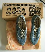 1964 Beatles Never Worn Wing Dings Sneaker Shoes In Blue W/ Box Size 4m Usa