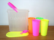 Tupperware 9 Oz. Tumblers And 2 Qt. Beverage Container/pitcherneon/new/very Good