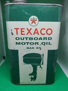 Vintage Texaco Outboard Boat Motor Oil 1 Quart Metal Can Sign