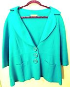 Classiques Entier Women Blue Knit Sweater Jacket Xl Collared V Silver Buttons