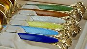 Th Marthinsen Norway 925s Silver Six Enameled Spoons In Cloister Pattern C1947