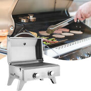 2 Burner Portable Stainless Steel Bbq Tabletop Propane Gas Grill Outdoor Party