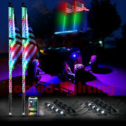 6ft Spiral Dancing Color Led Whip And 8pc Underglow Rock Pod Combo Kit For Atv