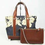 Celine Tote Bag With Pouch Flower Pattern Navy Brown System _72429