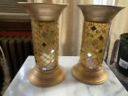 Partylite Global Fusion Stained Glass Mosaic Column Pillar Candle Holders P9300