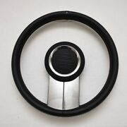 Isotta Idra Boat Steering Wheel 13 3/4 Inch Black Leather Stainless