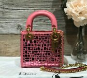 Auth Christian Dior Pink Leather Embroidered Mini Lady Dior Gold Hw