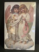 Victorian Lithograph Die Cut Christmas Angels Advent Calendar Old Print Factory
