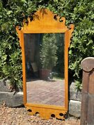Large Antique American Solid Figured Maple Federal Style Colonial Mirror 3