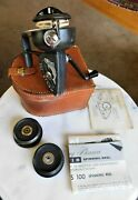 Vintage Orvis 100 Fishing Reel W/period Leather Case 2 Spare Spools And Paperwork