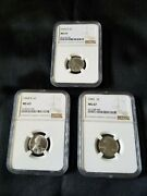 1943 P-d-s Steel Lincoln Cent 3-coin Set Ngc Ms67 Brown Label