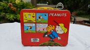 Vintage 1965 Peanuts Lunch Box Tin Thermos Charlie Brown Snoopy