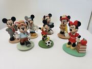 """Vintage Disney Minnie And Mickey Mouse Porcelain 4"""" Figurines Lot Rare"""