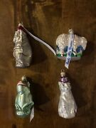 Lot Of 4 Vintage Lauscha Creation Blown Glass Christmas Ornament Germany W/tags