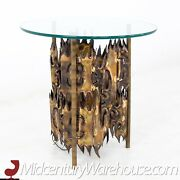 Silas Seandel Style Brutalist Torch Cut Side End Table With Lamp - Vintage Mcm