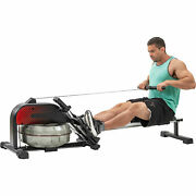 Water Rowing Machine Rower Resistance W/ Lcd Monitor Foldable For Home Fitness