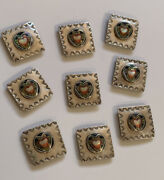 9 Sterling Silver Heart Mother Of Pearl Concho Belt Pieces Vtg C.b. Navajo