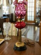 Victorian Banquet Parlor Oil Lamp Cranberry Ruffled Shade Converted