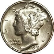 1941-d Mercury Silver Dime Lustrous Uncirculated Bu With Bold Full Split Bands