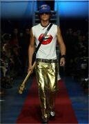 Dsquared2 Rolling Stones Lips Tee M Coupled By The Laminated Leather Pants Eu48