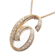 Auth Nombre Alpha Number 6 Small Diamond Necklace 0.17ct Yellow Gold Used F/s