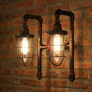 Nautical Pipe Vanity Lighting Vintage Frame Glass Shade Wall Sconce Lamp Fixture