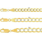 Solid 10k Yellow Gold 7.5mm-9.5mm D/cut Pave Cuban Link Chain Necklace 20-30
