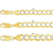 Solid 10k Yellow Gold 8.5mm-10.5mm D/cut Pave Cuban Link Chain Necklace 20-30
