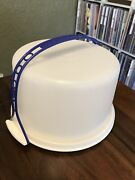 Vintage Tupperware Speckled Cake Taker Lid And Blue Handle 683 684 624 Guc