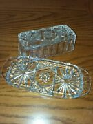 Fancy Vintage Butter Dish Anchor Hocking Star Of David Cut Clear Glass