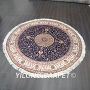 Yilong 7and039x7and039 Handknotted Silk Carpets Round Blue Home Interior Area Rug Tj308c