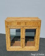 Vintage 1950s Vertically Stacked Bamboo Lowboy Display Cabinet W Two Shelves