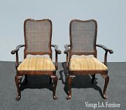 Pair Of Vintage French Country Ethan Allen Gold Cane Dining Room Arm Chairs