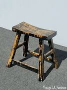 Vintage French Country Farmhouse Chic Metalic Gold And Black Crackle Bench Stool