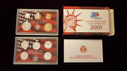 2001-s 90 Silver Proof Set United States Mint Original Government Packaging Box