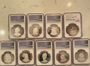 9 Ngc Haiti 1.5 Ounce .999 Silver Coins-complete Indian Chieftain Set- Rare