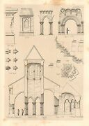 1858 Large Architecture Print Cobern Cathedral Medieval Gothic Art Mediaeval