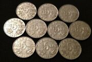10 Different 1922-1936 Canada George V Five Cent Nickels 1/4 Roll Type Coins