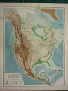 1892 Victorian Map North America Physical Mountains Table Lands Plains Valleys