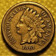 1861 Indian Head Cent With Full Liberty Nice Semi-key Date